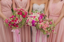 Lush Bouquets in Shades of Pink for Joy & Her Entourage   photo by Rock Paper Scissors Photography
