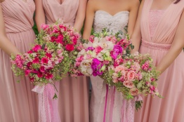 Lush Bouquets in Shades of Pink for Joy & Her Entourage | photo by Rock Paper Scissors Photography