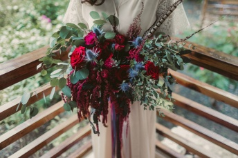 Shades of Crimson, Navy & Powder Blue for Rose's Bohemian Bouquet