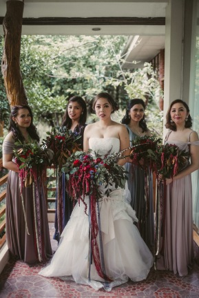 Romantic Crimson Bohemian Bouquets for Rose's Entourage