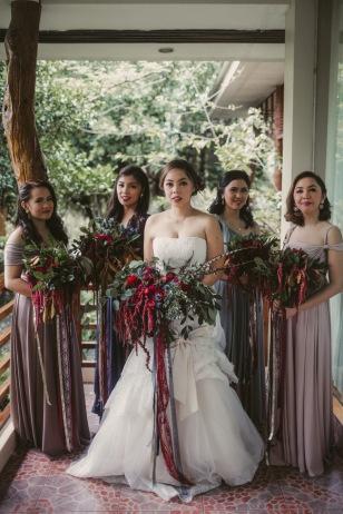 Romantic Crimson Bohemian Bouquets for Rose's Entourage