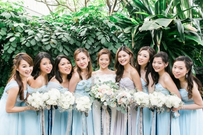 All-White Romantic Bouquets for Yukie's Entourage | photo by Seph Folios